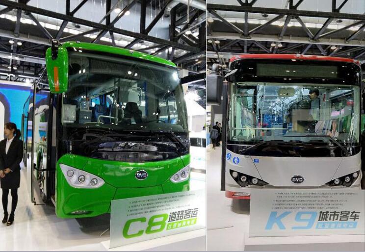 比亚迪纯电动道路客车C8和城市客车K9亮相世界智能网联汽车大会