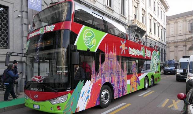 安凯纯电动双层敞篷巴士为意大利首辆纯电动双层敞篷观光巴士