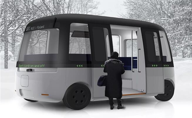 三辆自动驾驶电动巴士在韩国大邱市寿城区大兴洞试运行
