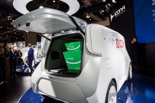 Olaf无人驾驶京东电动物流车亮相上海车展 奇瑞新能源制造