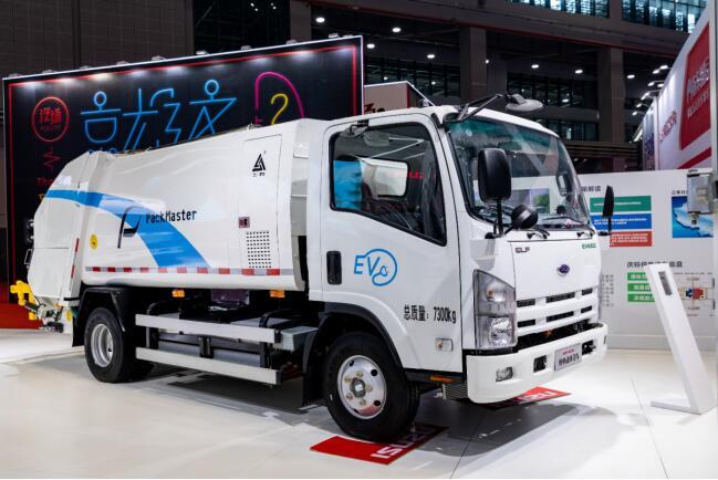 庆铃五十铃纯电动环卫车EVK100亮相2019上海车展